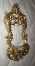 Vintage Victorian Homco Wall Candle Holder/Planter Gold #2482 Syroco Resin