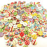 100pcs 15mm Mixed Round Pattern 2 Holes Wood Buttons Sewing Scrapbooking Fashion