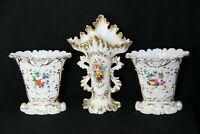 Antique French vieux paris porcelain vases set of 3 hand paint floral