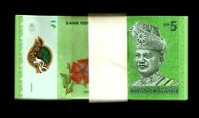 MALAYSIA 5 RINGGIT NEW 2012 x 100 Pcs Lot BUNDLE POLYMER BIRD ORCHID UNC NOTE