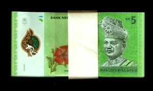 MALAYSIA 5 RINGGIT NEW 2012 x 100 Pcs Lot BUNDLE POLYMER BIRD ORCHID UNC NOTE
