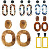 Acrylic Marbled Geometric Earrings Tortoise Shell Resin Women Earrings Dangle