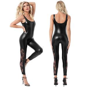 Women Sexy Shiny Leather Playsuit Floral Lace Catsuit Zipper Clubwear Jumpsuit
