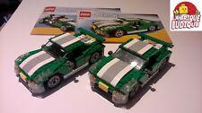 Lego - lot 2 voitures bolide vert creator 6743 100% complet, super état + notice