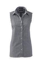 Lands End Women's Sleeveless No Iron Shirt Black Check New
