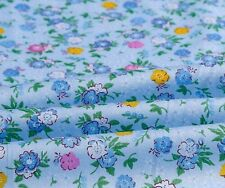160cm Wide Blue Yellow Pink Flower Floral Print Cotton Twill Fabric