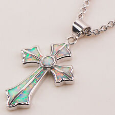 Cross White Fire Opal Gemstone Silver Gold Filled Fashion Jewelry Pendant P117