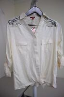 Bongo Cotton Blend Yellowish Beige Button Down Knit Top Size - 2X