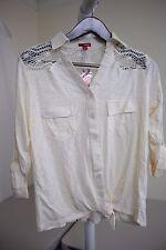 Bongo Cotton Blend Yellowish Beige Button Down Knit Top Size - 1X