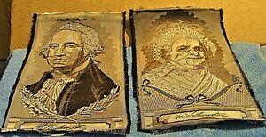 ANTIQUE SIGNED LW STEVENGRAPH GEORGE & MARTHA WASHINGTON WOVEN IN SILK PORTRAITS