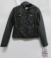Krush Juniors Girls Black Faux-Fur-Lined Hooded Faux-Leather Moto Jacket Size XS