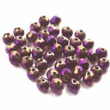 Czech Crystal Glass Faceted Round Beads 8mm Purple/Metallic 70+ Pcs Art Hobby