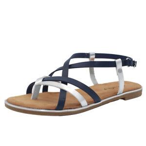 MUSTANG SHOES Damen Slingback Sandalen Zehentrenner Sandaletten Blau/Silber