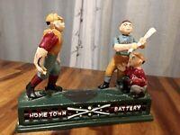 Vintage Cast Iron Baseball Hometown Battery Possums Mechanical Bank