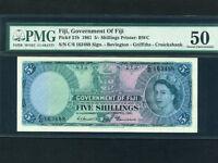 Fiji Islands:P-51b,5 Shillings,1961 * Queen Elizabeth II * PMG AU 50 *