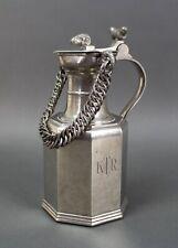 Black Starr Gorham Pewter Milk Pitcher Ram Head Acorns Chain Handle Vintage KTR