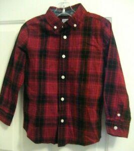NEW Boys S 5-6 GYMBOREE DRESSED UP Button Down Plaid Dk Red Black SHIRT Cotton