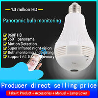 360° Panoramic 1080P IR Camera Light Bulb Wifi FishEye CCTV Lamp