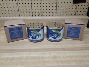 2X Bath & Body Works BLUEBERRY MAPLE PANCAKES 3-Wick Scented Candles 14.5oz Lot