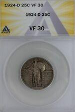 1924-D  .25  ANACS  VF 30   Standing Liberty Quarter,Liberty 25 Cents