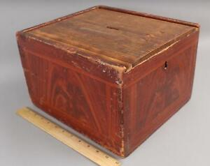 19thC American Primitive, Folk Art Rosewood Faux Painted, Wood Box NO RESERVE