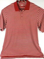 UA Under Armour Mens Red & White Striped Short Sleeve Polo Golf Shirt Size XL