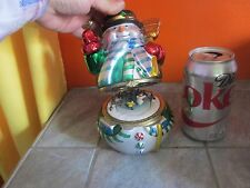 MR CHRISTMAS Animated Musical SNOWMAN Hinged TRINKET Box with SKATERS Inside