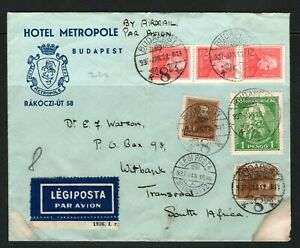 1930's Hungary cover to Transvaal S Africa from Budapest,note SG 535,neat cds
