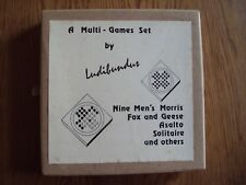Vintage Wooden Games Compendium Nine Men's Morris - Fox and Geese - Solitaire