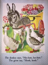 BEAUTIFUL LITTLE DONKEY W FLOWER CART GEESE  VINTAGE CHILDRENS PRINT 1944 FARM