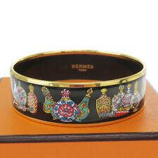 Auth HERMES Cloisonne Enamel Bangle Bracelet Black Austria Accessory 38BQ941