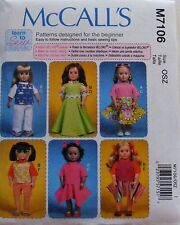 McCall's Pattern 7106 Learn to Sew Pattern- Clothes for 18 Inch Dolls wardrobe