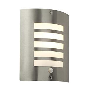 Saxby Bianco Outdoor Garden Wall Light PIR Sensor 60W E27 Stainless Steel IP44