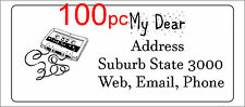 100 Personalised return address label casette music mailing sticker 56x25mm