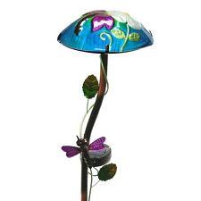Regal Art Hand Painted Glass Solar Mushroom Stake Light, Dragonfly (Model 10342)