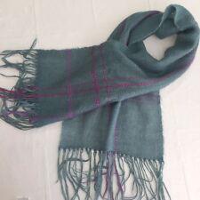Hand Woven Wool Blend Neck Scarf Blue Pink 48 x14