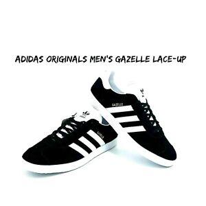 Adidas Originals Men's Gazelle Lace-up Sneaker,Black/White/Gold Met
