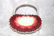 TS Victorian Ox Blood to Vaseline Satin Finished Art Glass Basket!