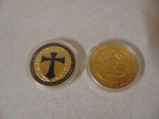 CHALLENGE COIN KNIGHTS TEMPLAR CROSS MAN ON HORSE BLACK AND SILVER COLOR