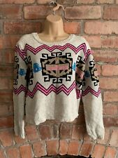 RED OR DEAD Cream Pink Black Aztec Print Slightly Cropped Jumper Size 12
