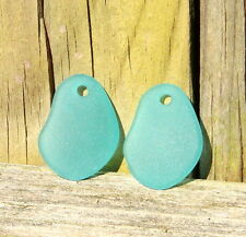2Pcs(26x18mm) TEAL Free Form Curved Sea Glass Pendant Beads