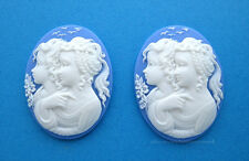 2 WHITE color SISTERS 2 PRETTY GIRLS on BLUE Costume Jewelry 40mm x 30mm CAMEOS