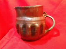 "Antique Redware Pottery Pitcher with Handle 7"" tall"