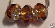 3 x Brown tan bronze hint of A/B Faceted Bead charm spacer European Bracelet M34