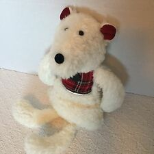Woof And Poof White Plush Mouse Red Plaid Teddy Bear Mole Christmas Stuffed Toy