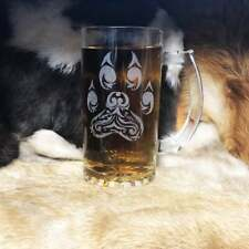 Set Of Four Wolf Paw / Claw Design Viking Laser Engraved Beer Mug Glass