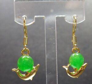 Yellow Gold Plate Green JADE Earring Dolphin bead Diamond Imitation 耳环 321158