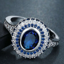 Women Blue Sapphire Jewelry White Gold Filled Engagement Bride Ring Size 6 7 8 9