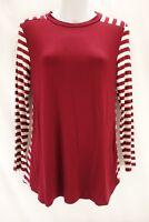 NEW MADELINE SPARKLESTEIN Long Sleeve Blouse Womens S Burgundy White Striped Top