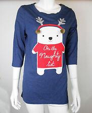 Señoras Top Túnica Pijama/PJ Pijama/Ropa de Dormir 8 10 12 14 16 18 20 Impresión Renos Navidad